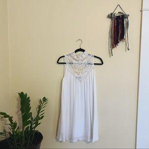 Lulu's • white lace high neck mini dress